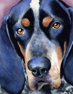 BLUETICK COONHOUND Dog Art Print Signed by Artist DJ Rogers