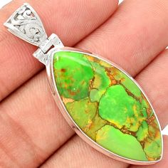 Green Copper Turquoise 925 Sterling Silver Pendant Jewelry GCTP1038 - JJDesignerJewelry
