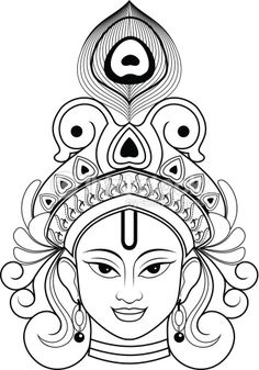 Beautiful Outline Drawing of Lord krishna. Art Drawings Beautiful, Cool Art Drawings, Art Drawings Sketches, Mandala Art, Mandala Drawing, Buddha Kunst, Buddha Art, Buddha Drawing, Kerala Mural Painting