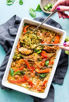Drunken Chicken Zoodle Casserole takes a spin on the original Pad kee mao Asian stir fry and puts it in casserole form. A paleo zucchini noodle casserole with tons of flavor, Thai spices, and simpl… Paleo Chicken Casserole, Zoodle Casserole, Chicken Soup Recipes, Healthy Chicken Recipes, Casserole Recipes, Cooking Recipes, Chicken Protein, Drunken Chicken, Pollo Guisado