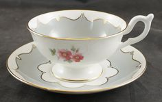 Coalport Fine Bone China Cup and Saucer GRAY with FLOWERS by RarebirdAntiques on…