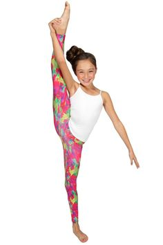 You'll love these funky fresh leggings perfect for dancing or hanging out with your friends!   95% polyester 5% spandex  Machine wash cold  Made in the USA