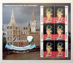 """Princess Diana """"Houses of Parliment"""" Plate Block of 6 Stamps Issued by Ghana, Diana - Princess of Wales 1961 - 1997."""
