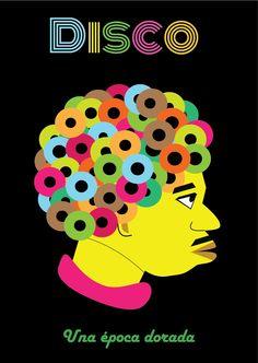 """Cartel ilustrado """"Disco"""""""