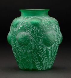 "Art Glass:Lalique, R. ""Domremy"" A Green Glass Vase with white patina,Marcilhac no. designed Marks: engraved R. Lalique Perfume Bottle, Perfume Bottles, Lalique Jewelry, French Art, Bottle Design, Art Nouveau, Art Deco, Viera, Glass Art"