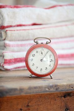 Vintage French Faded Red Alarm Clock
