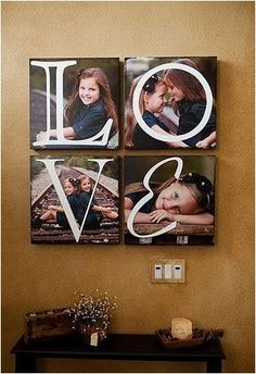 LOVE on canvas photos - Uppercase Living project. You could design anything to work on your photos, any size, any color. #photo #canvas #kids