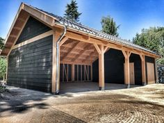 , While ancient with thought, this pergola has Timber Garage, Pole Barn Garage, Pole Barn House Plans, Garage House Plans, Pole Barn Homes, Garage Art, Design Garage, Carport Designs, Shed Design