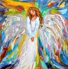 Anjo Com Flores - Pintura de Karen Tarlton - USA
