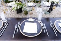 Gold, green and black reception details Temecula Valley, California Wedding Venues, Palm Springs, Southern California, Table Settings, Reception, Wedding Photography, Table Decorations, Green
