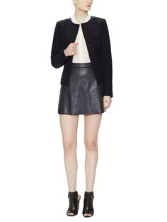 Leather Contrast Trim Mini Skirt from Vince on Gilt