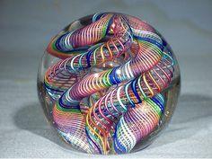 "James Alloway art glass paperweight. ""Quadmania"" # 260"
