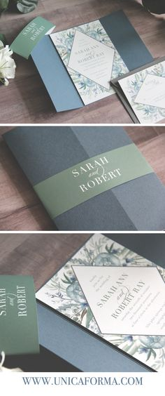 Slate blue wedding invitations. Dusty blue wedding invitations. Slate and dusty blue. Wedding color palette. Blue and green wedding. Neutral wedding. Calligraphy wedding invitations. Customized wedding invitations. Dusty blue and green wedding inspiration. Summer wedding. Spring wedding. 2018 wedding. Top wedding trends. Invitations by Unica Forma