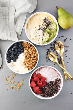 3 Ingredient Yogurt Breakfast Bowls 3 Ways - Joghurt rezepte Healthy Breakfast Recipes, Brunch Recipes, Healthy Snacks, Healthy Recipes, Fun Recipes, Healthy Drinks, Greek Yogurt Recipes Breakfast, Healthy Smoothies, Healthy Eating