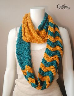 This pattern was retired from free to paid as of January 19, 2015. This stunning infinity scarf uses bold contrasting colors along with a contrasting pattern to create a fun and functional fall accessory. You can use any two colors you like, think opposite (or near opposite) on the color wheel.