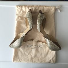 HOST PICK!!Jimmy Choo sequins peep toe pumps Classic sequins peep toe pumps from Jimmy Choo. Heel height is 3 inches. Purchased at Saks, comes with dust bag and original box. *left heel is scraped and scratched from normal wear and tear. ask for additional pics. Price is negotiable for serious buyers pls use the offer button. Jimmy Choo Shoes Heels
