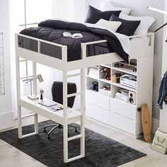Shop modern bunk beds and loft beds at Pottery Barn Teen. Don't sacrifice your style in a small space or a shared room with these teen bunk beds and loft beds. Loft Beds For Small Rooms, Loft Beds For Teens, Bed For Girls Room, Small Room Bedroom, Room Ideas Bedroom, Bedroom Loft, Bed Rooms, Bed For Kids, Couple Bedroom