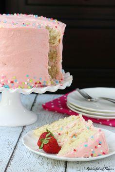 Vanilla Bean Cake with Strawberry Buttercream