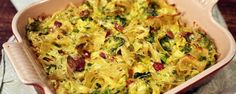 Brussels Sprouts Noodle Casserole Recipe | The Chew - ABC.com (tip from Michael Symon- if you don't have farmer's cheese, pulse some cottage cheese to get the curd out)