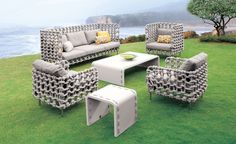 Cabaret provides a modern take on the brand's sought after craftsmanship techniques. Weaving fabric-wrapped foam on a steel frame conveys the next generation of the evolving outdoor luxury furniture market. This collection blurs the lines between indoor and outdoor living, providing comfort and warmth in both settings.