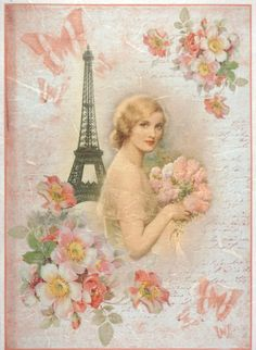 Roses in shape shabby chic 4 Single paper decoupage napkins flowers 551
