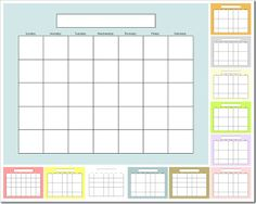 Free Blank Calendar...put it in a frame and you have a DIY dry-erase calendar!