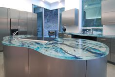Kitchen Unique Kitchen Counter Top Different Materials Cool Glass Kitchen Countertop Ideas With Electric Grill Design Plus Strong Stainless Steel Cabinets Unique Kitchen Countertops Of Different Materials Blue Kitchen Decor, Kitchen Tops, Glass Kitchen, Kitchen Island, Types Of Countertops, Kitchen Countertops, Blue Countertops, Countertop Paint, Concrete Countertops