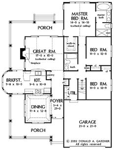 Floor Plans AFLFPW05217 - 1 Story Country Home with 3 Bedrooms, 2 Bathrooms and 1,700 total Square Feet