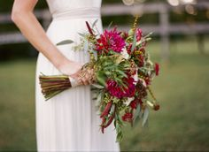 Rustic, garden bouquet perfect for a barn wedding. Mixed flowers give a fresh, hand-picked feel. mayflowerscha.com