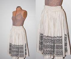 Vintage 1970s Ivory / Brown Tribal Print Long Linen Peasant Skirt by GazelleStar, $30.00