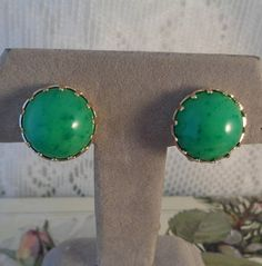 Green Button Earrings Gold Tone Plastic Lightweight Clip On