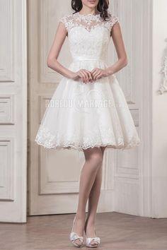 Col haut robe de mariée civile courte dentelle [#ROBE2010272] - robedumariage.com