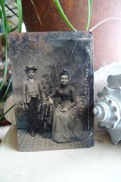 antique tintype mother and son