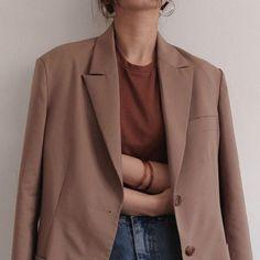 Rust tee with lighter linen jacket