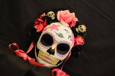 Little Lolita  Day of the Dead Mask Pink and Black by HikariDesign,