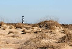 The Outer Banks a 200-mile (320-km) long string of narrow barrier islands off the coast of North Carolina including great lighthouses including Hatteras Lighthouse