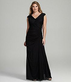 Adrianna Papell Woman Cap Sleeve TwistFront Gown #Dillards