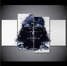 4 Panel Star Wars Darth Vader Framed  Wall Canvas Art