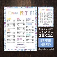 Price List, Update 2017, Home Office Approved Font & Color, 18x24 poster, Sign for Lu???oe retailer, Lu???oe marketing, LLR Price List #7 by AlexProDesignB2B on Etsy