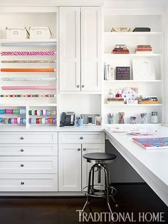 An office of sorts, this tidy craft room provides ample work space. - Traditional Home ® / Photo: Emily Jenkins Followill / Design: Bradshaw Orrell