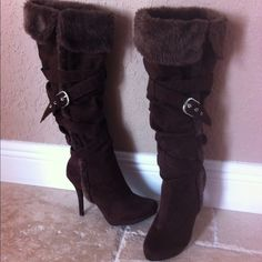 "Brown Faux Suede Boots with Fur Trim Brown Faux Suede and Faux Fur Tall Boots. Size M( fits size 7-8). Inside zipper with adjustable buckle detail. 19"" tall. 4"" heel with 1/2"" platform. Worn once- PERFECT CONDITION !!!! No trades Shoes Heeled Boots"