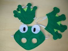 Child Size Frog Costume by Mahalo on Etsy...I found a childs crown pattern online to help with the hands and feet. I free handed the face mask.