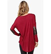 Sequin #Elbow Patch #Fall #Sweater In Burgundy
