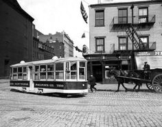 Battery powered street car, 1913, unknown location. Photo from the New York State Archives.