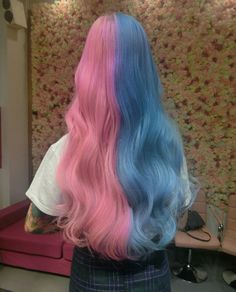 Read Their favorite dyed hair color from the story Cute Hair Colors, Pretty Hair Color, Hair Color Purple, Hair Dye Colors, Brown Hair Colors, Blue And Pink Hair, Half And Half Hair, Half Colored Hair, Split Dyed Hair