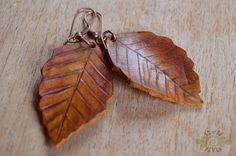leather beech leaves earrings ~ livit vivid