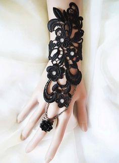 SWAROVSKI crystal Belly dance wedding party vintage lace rhinestone crystals Slave Bracelet/Gloves, $16.99