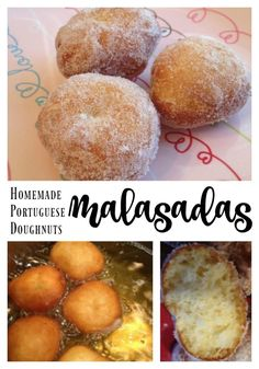 Homemade Portuguese Doughnuts -Malasadas Source by grannythreads Portuguese Donuts Recipe, Malasadas Recipe Portuguese, Malasadas Recipe Hawaii, Portuguese Sweet Bread, Portuguese Desserts, Portuguese Recipes, Portuguese Food, Hawaiian Dessert Recipes, Hawaiian Dishes