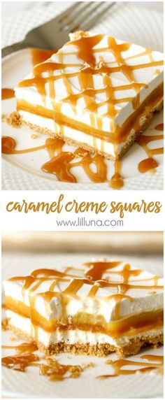 Caramel Creme Squares - 5 delicious layers including graham cracker crumbs cream cheese butterscotch and vanilla pudding and topped with Cool Whip and caramel! YUM!!