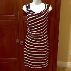 LOFT white and navy blue stripes dress LOFT stripes dress. New LOFT Dresses Midi